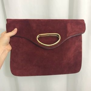 Vintage Burgundy Red Suede Foldover Clutch Purse